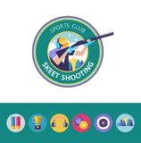 Vector logo of the sport club. Shooting Skeet. Round icons. Set. Logo clay pigeon shooting. Athlete shooter aims with a gun. Round emblem. Logo clay pigeon Stock Photos