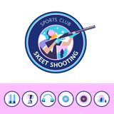 Vector logo of the sport club. Shooting Skeet. Set of design ele. Ments. Round icons Royalty Free Stock Photo