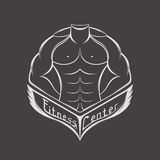 Vector logo sports center or club. Sportsman silhouette character  logo design template. Sport Fitness club creative concept - stock . Bodybuilder Fitness Model Royalty Free Stock Image