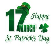Vector logo for St. Patrick`s Day. 17 March. Happy St. Patricks Day. Congratulatory inscription with irish clover and green leprechaun hat. Vector illustration Royalty Free Stock Images
