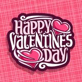 Vector logo for St. Valentine`s Day. Card with two pink hearts & original handwritten font for greeting text happy valentines day, cut paper for romantic Stock Photo