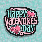 Vector logo for St. Valentine`s Day. Card with two pink hearts & original handwritten font for greeting text happy valentines day, cut paper for romantic Royalty Free Stock Photography