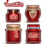 Vector logo Strawberry Jam in glass Jars
