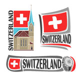 Vector logo for Switzerland. Consisting of 3  illustrations: Fraumunster Church in Zurich on background of national state flag, symbol of Switzerland and swiss Royalty Free Stock Photo
