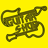 Vector logo template of black lines on yellow background for guitar store Royalty Free Stock Photography