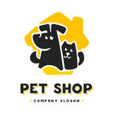 Vector logo template with cat and dog. Stock Photo
