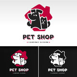 Vector logo template with cat and dog. Royalty Free Stock Photos