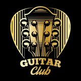 Vector logo template plectrum and guitar. Vector logo template with plectrum and guitar Royalty Free Stock Image