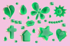 Vector logo template set of figurines. Vector logo template set of different green shiny glass shapes in metallic silver setting isolate on pink background Royalty Free Stock Photos
