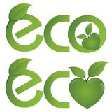 ECO text on a concept in the ecological colors. Vector logo templates and elements related to ecology, environment, nature Royalty Free Stock Image
