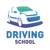 Vector logo on the theme of driving school, car royalty free stock photography