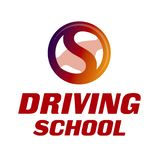 Vector logo on the theme of driving school, car royalty free stock images