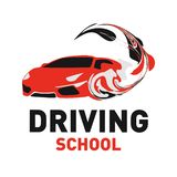 Vector logo on the theme of driving school, car royalty free stock photo