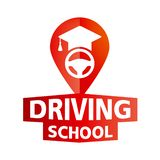Vector logo on the theme of driving school, car royalty free stock photos