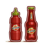Vector logo Tomato Ketchup Bottle Royalty Free Stock Photos