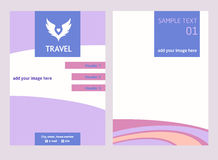 Vector logo for tourist trip. Color wings the sky. Flyer with ha Stock Photos