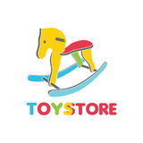Vector logo toy store, label, stylized toy wooden horse full color, beautiful interesting design, a logo for the company. Vector logo toy store, label, stylized Stock Photo