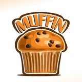 Vector logo for Traditional Muffin. Original font for word title muffin, poster with fresh baked goods for morning breakfast, illustration of small homemade Stock Photos