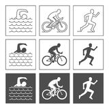 Vector logo triathlon. Flat figures triathletes on a white backg Royalty Free Stock Images