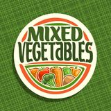 Vector logo for Vegetables. Sign with set of onion, ripe tomato, carrot tuber, green cauliflower, raw potato for vegetable summer salad, veg mix label with Royalty Free Stock Photography