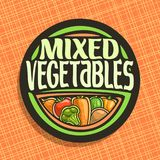 Vector logo for Vegetables. Sign with set of onion, ripe tomato, carrot tuber, green cauliflower, raw potato for vegetable summer salad, veg mix label with Royalty Free Stock Images