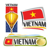 Vector logo Vietnam. 3 isolated images: vertical banner traditional paper lantern with plum blossom on background vietnamese national state flag, conical hat Stock Photos