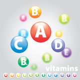 Variety of vitamins. Vector logo vitamins nutrition color wheel Stock Image