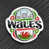 Vector logo for Wales. Fridge magnet with welsh flag with red dragon, original brush typeface for word wales and national welsh symbol - Caerphilly castle east Vector Illustration
