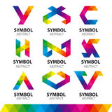 Vector logos from abstract modules. Collection of vector logos from abstract modules Stock Photos