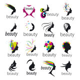 Vector logos beautiful female face Stock Photography