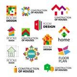 Vector logos construction and repair of buildings Stock Photos