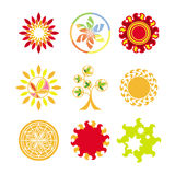 Vector logos in the form of the sun Royalty Free Stock Image