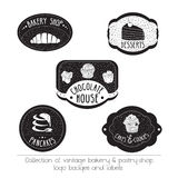 Vector logos with hand drawn elements isolated on white. Set of vintage bakery and pastry- shop logo badges and labels. Stock Photo