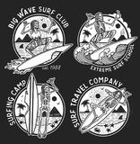 Vector Logos Illustration with Skeleton Surfers. Set of Vintage Surfing Emblems for web design or print. Surfer logo templates. Surf Badge. Surfboard elements Royalty Free Stock Images