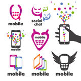 Vector logos mobile and smartphones Royalty Free Stock Photos