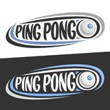 Vector logos for Ping Pong sport. Flying on trajectory table tennis ball and handwritten words - ping pong on black, curved line around original typography on Royalty Free Stock Image