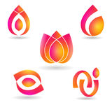 Vector logos. A set of vector logos with fire and floral designs Stock Photo