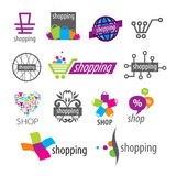 Vector logos and shopping discounts Stock Image