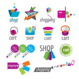 Vector logos and shopping discounts Stock Photos