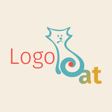 Vector logotipe with simplified figure cat. It can be used for zoo theme logo an element of the site design. Vector logotipe with simplified figure cat.. Linear Royalty Free Stock Photos