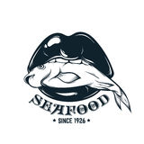 Vector  logotype for seafood shop  with hand drawn illustration  of  woman mouth. With fish . Tattoo artwork . Template for card, poster, banner, print for t Stock Photography