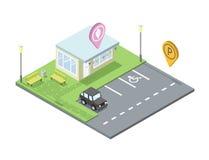 Vector a loja de gelado isométrica com estacionamento e o lugar para o resto, geotag do pino Fotografia de Stock