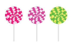 Vector lollipop. Swirl lollipop in pink, violet and green color Royalty Free Stock Photos