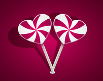 Vector lollipop heart on purple background. Eps10 Royalty Free Stock Image