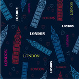 Vector London Big Ben Tower Dark Blue Seamless Repeat Pattern With Hand Drawn Symbols, Words and hearts. Royalty Free Stock Image