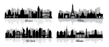 Vector london, new york, berlin and paris Royalty Free Stock Images