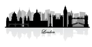 Vector london skyline silhouette Royalty Free Stock Photos