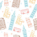 Vector London Streets Colorful Seamless Pattern With Big Ben Tower, Double Decker Bus, Houses and Stars. stock illustration