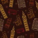 Vector London Symbols Brown Seamless Pattern With Big Ben Tower, Double Decker Bus, Houses and Stars. Royalty Free Stock Images