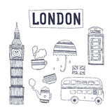 Vector London tourism attractions and symbols. Isolated on white background. Big ben, bus, tea, cup, flag, telephone and  umbrella Royalty Free Stock Photography